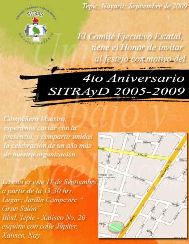 Invitacion Festejo 4o Aniversario SITRAyD CONALEP
