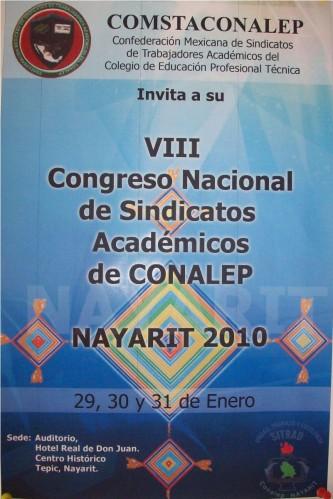 Congreso Nacional de Sindicatos Academicos de CONALEP, Nayarit 2010