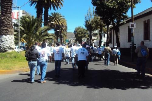 La marcha por la dignificación del maestro Conalep
