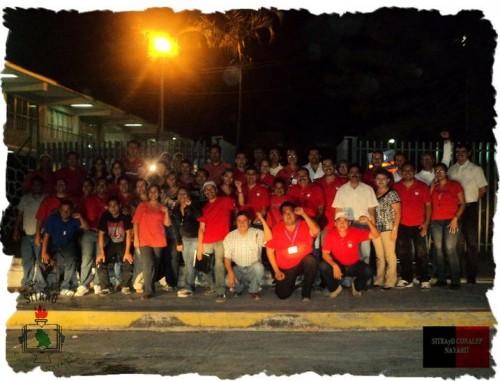 Docentes reunidos al finalizar la huelga en Conalep Nayarit, 6 de mayo 2011