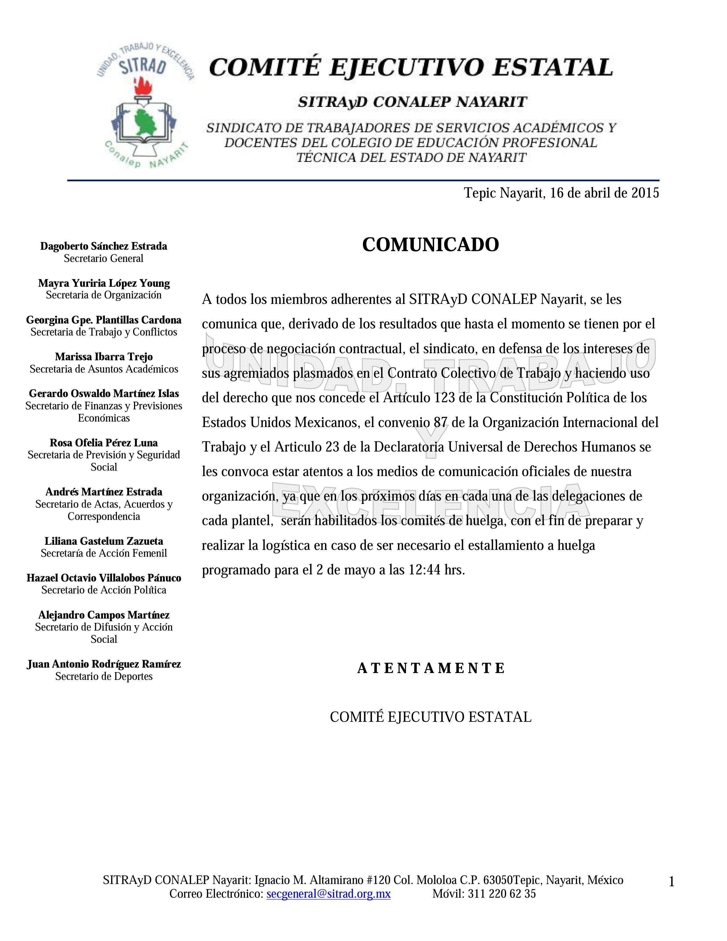 COMUNICADO HUELGA